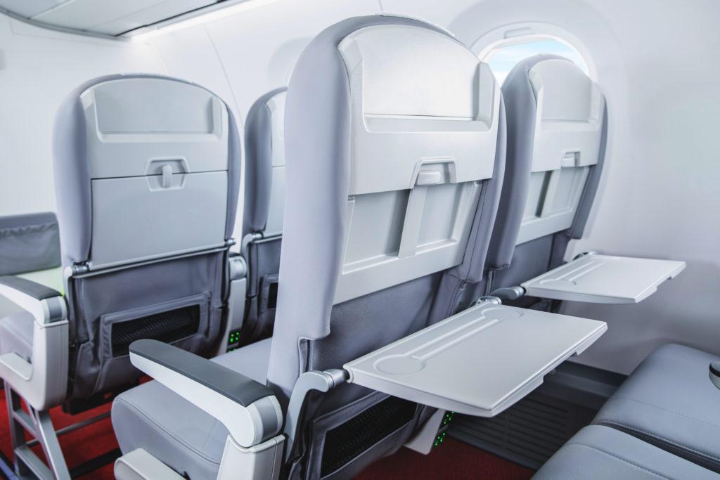 Interior view of the new Helvetic Embraer E195-E2